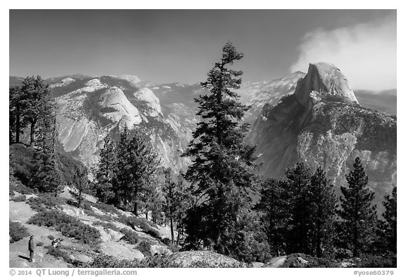 Visitor looking, Half-Dome from Glacier Point. Yosemite National Park (black and white)