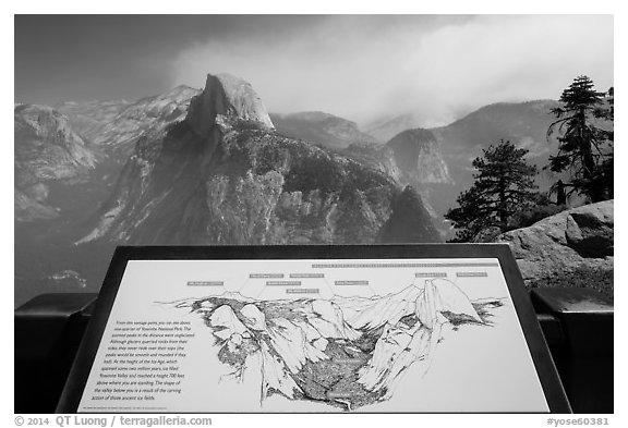 Glacier Point lower terrace intepretive sign. Yosemite National Park (black and white)