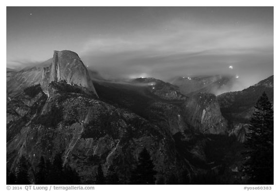 Half-Dome, forest fire, and moon rising. Yosemite National Park (black and white)