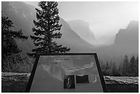 Discovery View interpretive sign. Yosemite National Park ( black and white)