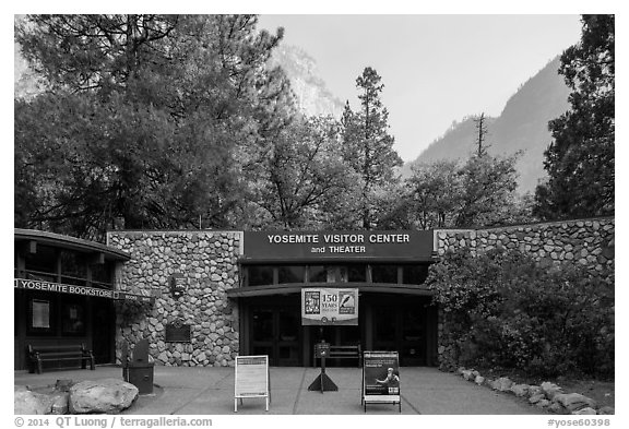 Main visitor center and cliffs. Yosemite National Park (black and white)
