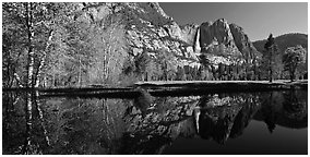 Yosemite Falls reflected in run-off pond. Yosemite National Park (Panoramic black and white)