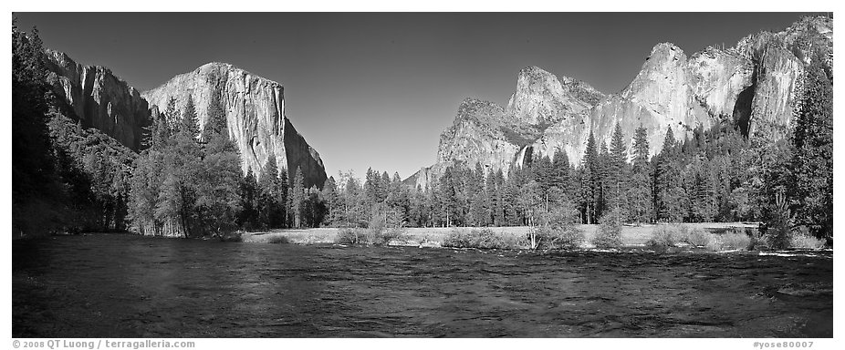 Valley view el capitan and bridalveil fall yosemite national park black and white