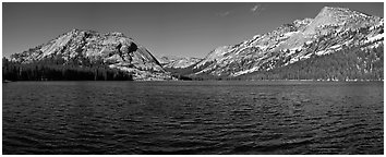 Tenaya Lake, Medlicott Dome, and Tenaya Peak. Yosemite National Park (Panoramic black and white)
