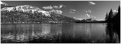Tenaya Lake and peak in early spring. Yosemite National Park (Panoramic black and white)