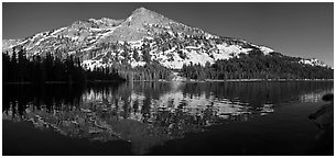 Tenaya Lake and snow covered peaks. Yosemite National Park (Panoramic black and white)