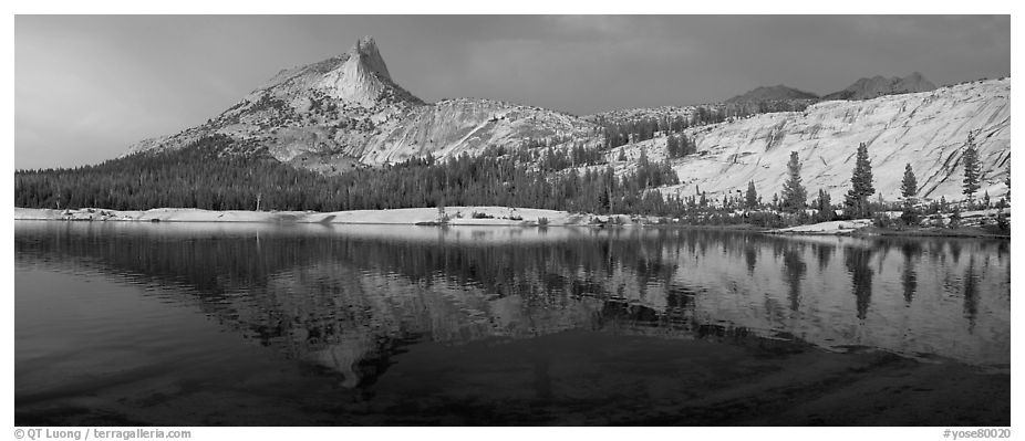Lower Cathedral Lake, late afternoon. Yosemite National Park (black and white)