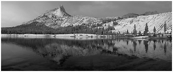 Lower Cathedral Lake, late afternoon. Yosemite National Park (Panoramic black and white)
