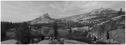 Upper Cathedral Lake, sunset. Yosemite National Park (Panoramic black and white)