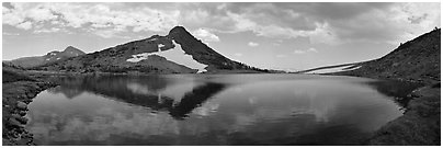 Upper Gaylor Lake. Yosemite National Park (Panoramic black and white)
