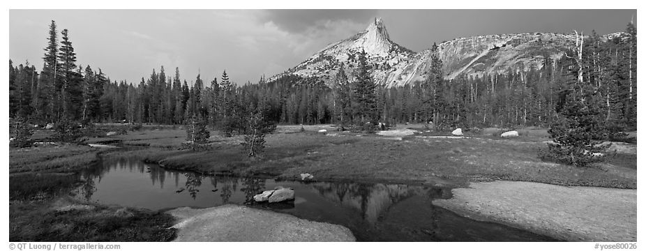 Stream and Cathedral Peak in storm light. Yosemite National Park (black and white)