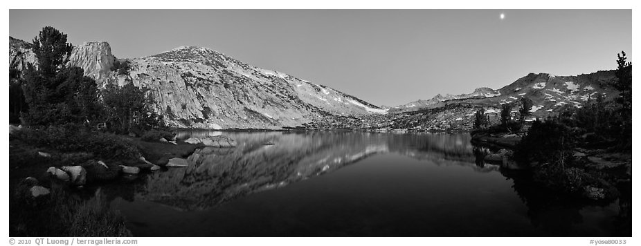 Alpine lake in cirque at dusk, Vogelsang. Yosemite National Park (black and white)