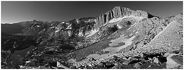 North Peak and Twenty Lakes Basin from McCabe Pass, early morning. Yosemite National Park (Panoramic black and white)