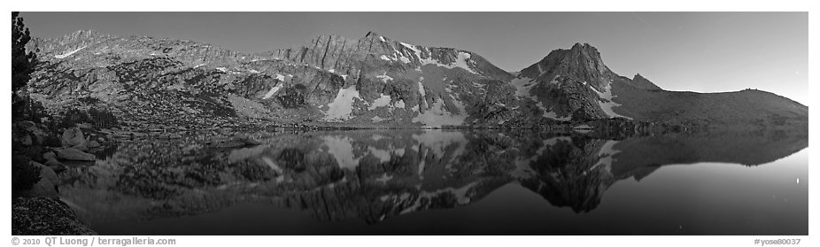 Chain of mountains above upper McCabbe Lake at dusk. Yosemite National Park (black and white)