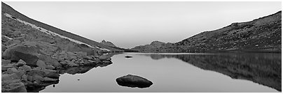 Roosevelt Lake at dawn. Yosemite National Park (Panoramic black and white)