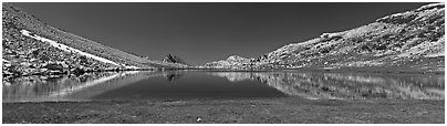Wide view of alpine lake. Yosemite National Park (Panoramic black and white)