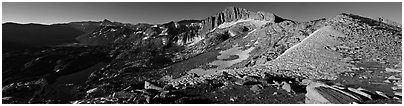 High Sierra scenery with lakes and high peaks. Yosemite National Park, California, USA. (black and white)