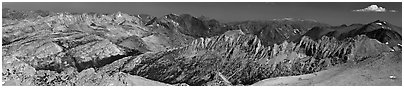 Northern mountains from Mount Conness. Yosemite National Park (Panoramic black and white)