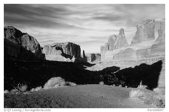 South park avenue, an open canyon flanked by sandstone skycrapers. Arches National Park (black and white)