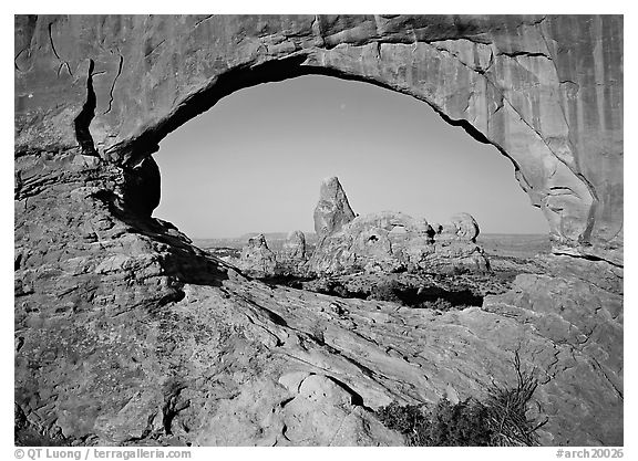 Turret Arch seen from rock opening. Arches National Park (black and white)