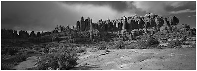 Sandstone pinnacles, Klondike Bluffs. Arches National Park (Panoramic black and white)