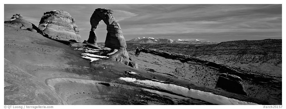 Delicate Arch and snowy mountain. Arches National Park (black and white)