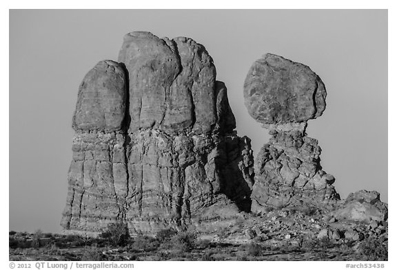 Balanced rock and sandstone tower. Arches National Park (black and white)