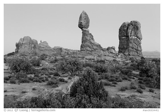 Balanced rock and other rock formations. Arches National Park (black and white)