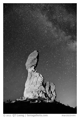 Balanced rock at night. Arches National Park (black and white)