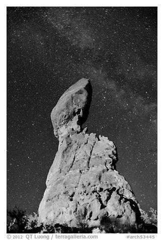 Balanced rock and Milky Way. Arches National Park (black and white)