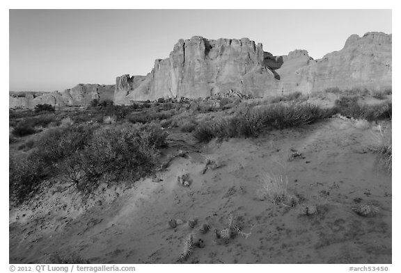 Great Wall at sunrise. Arches National Park (black and white)