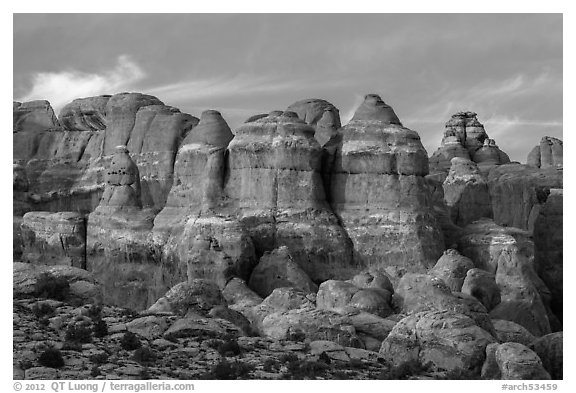 Last light of Fiery Furnace. Arches National Park (black and white)