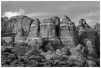 Last light of Fiery Furnace. Arches National Park ( black and white)