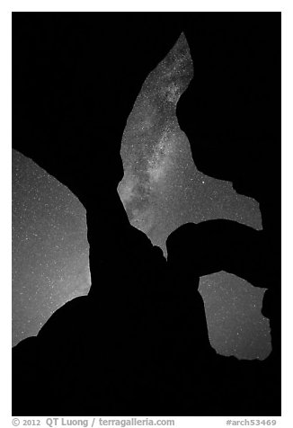 Double Arch with stars and Milky Way. Arches National Park (black and white)