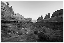 Park Avenue at sunrise. Arches National Park ( black and white)