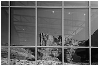 Cliffs, Visitor Center window reflexion. Arches National Park ( black and white)