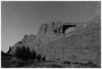 Moonlit Skyline Arch. Arches National Park, Utah, USA. (black and white)