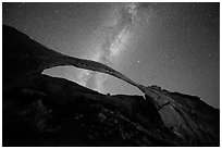 Landscape Arch bissected by Milky Way. Arches National Park ( black and white)
