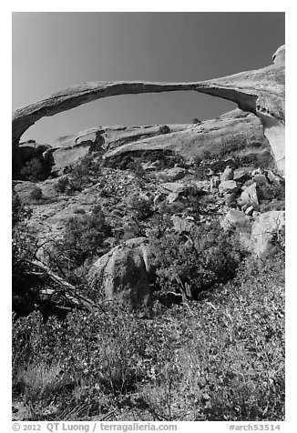 Landscape Arch with fallen boulders. Arches National Park (black and white)