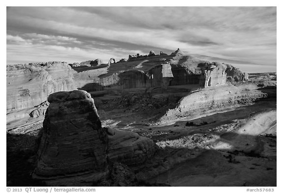 Winter Camp Wash and Delicate Arch at sunrise. Arches National Park (black and white)