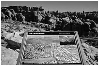 Interpretative sign, Fiery Furnace. Arches National Park, Utah, USA. (black and white)