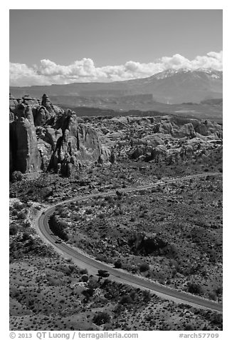 Scenic road, Fiery Furnace, and La Sal mountains. Arches National Park (black and white)
