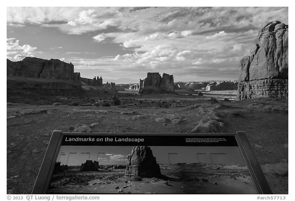 Interpretive sign, Courthouse towers. Arches National Park (black and white)