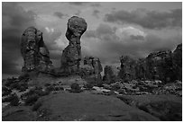 Garden of Eden at dusk. Arches National Park, Utah, USA. (black and white)