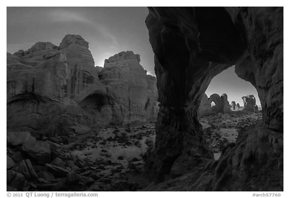 Cove of Arches and Cove Arch at night. Arches National Park (black and white)