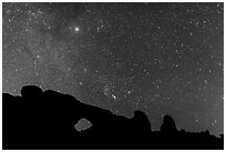 North Window under starry sky at night. Arches National Park ( black and white)