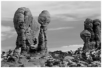 Balanced formations in Garden of Eden. Arches National Park, Utah, USA. (black and white)