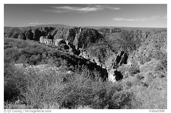 View from North rim. Black Canyon of the Gunnison National Park (black and white)