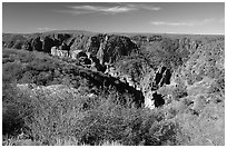 View from North rim. Black Canyon of the Gunnison National Park ( black and white)