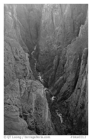 The Narrows seen from Chasm view, North rim. Black Canyon of the Gunnison National Park (black and white)